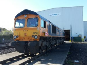 Class 66 operated by GB Railfreight fitted with RETB equipment
