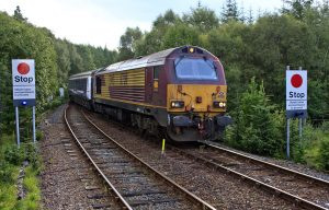 A Class 66 freight loco equipped with RETB low cost in cab signalling