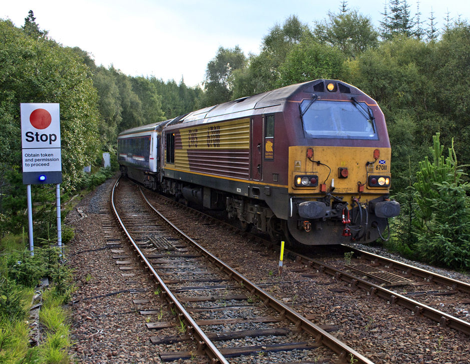 A class 66 loco fitted with RETB low cost signalling operating on the West Highland Line