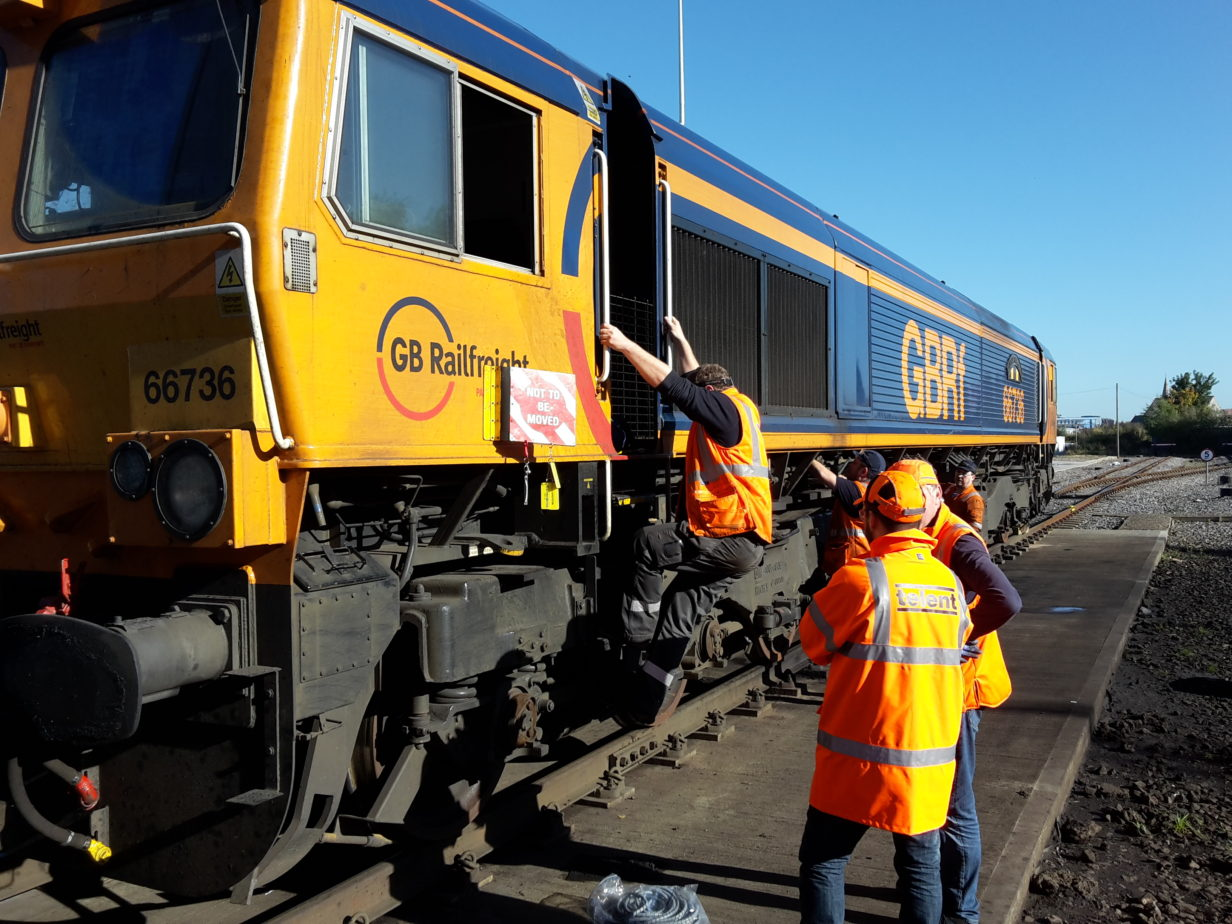 RETB low cost signalling being installed on a Class 66 loco