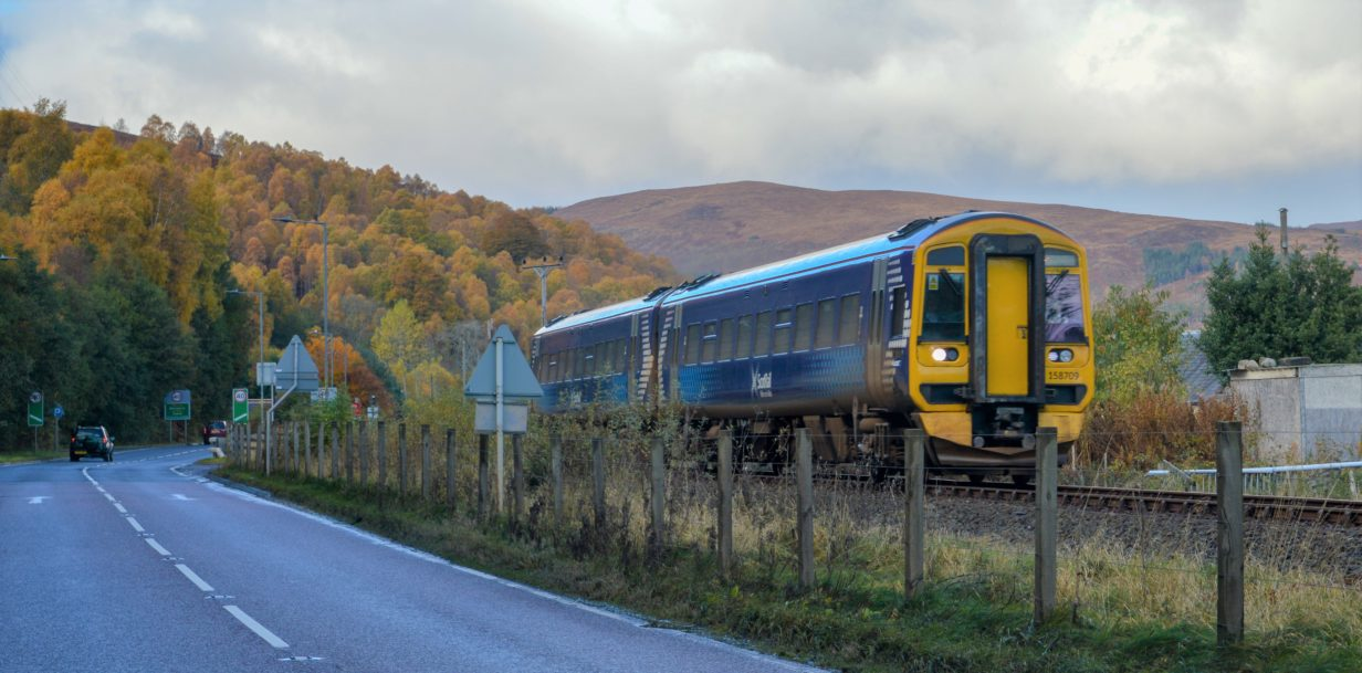 Class 158 Passenger Train operating under the Comms Design RETB Next Generation Radio Signalling System in Scotland